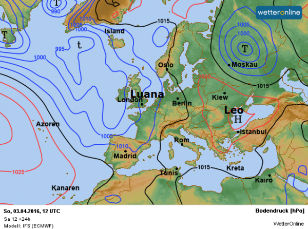 De weerkaart volgens ECMWF voor vandaag.