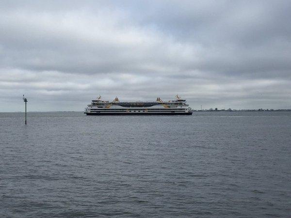 de nieuwe veerboot naar Texel voor het eerst in het Marsdiep. De 'Texelstroom' gaat later dit jaar dienst doen tussen Den Helder en Texel. Foto is van Danny van Ierland.
