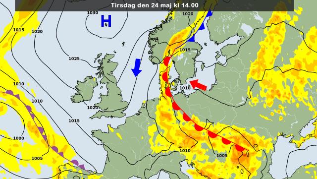 de weerkaart voor vandaag met daarop ingetekend de noordelijke stroming met aanvoer van koude lucht. Bron: DMI