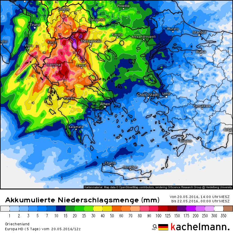 Het noorden van Griekenland krijgt regionaal meer dan 100 mm regen te verduren, lokaal is zelfs meer dan 150 mm mogelijk! Bron: Kachelmannwetter.