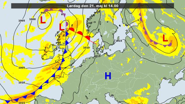 de weerkaart voor vandaag met daarop het hogedrukgebied dat voor een warme zaterdag zorgt. Bron: DMI