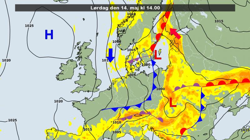 de weerkaart voor vandaag. Met een noordelijke stroming wordt koud lucht aangevoerd. Bron: DMI.