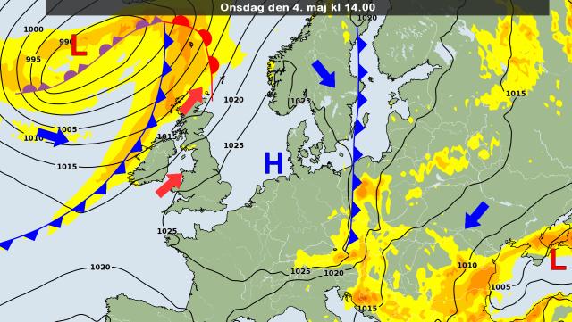 De weerkaart voor vandaag met daarop prijkend het hoog Peter boven onze streken. Bron: DMI.