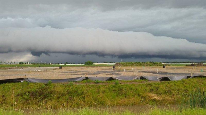 een prachtige shelfcloud gisterochtend boven Aalsmeer. Foto is André Willemsen.