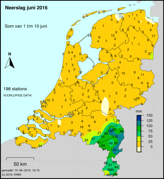 De neerslaghoeveelheden over de eerste 10 dagen van deze maand. Met uitzondering van het zuidoosten is het tot nu toe een (zeer) droge maand. Bron: KNMI.