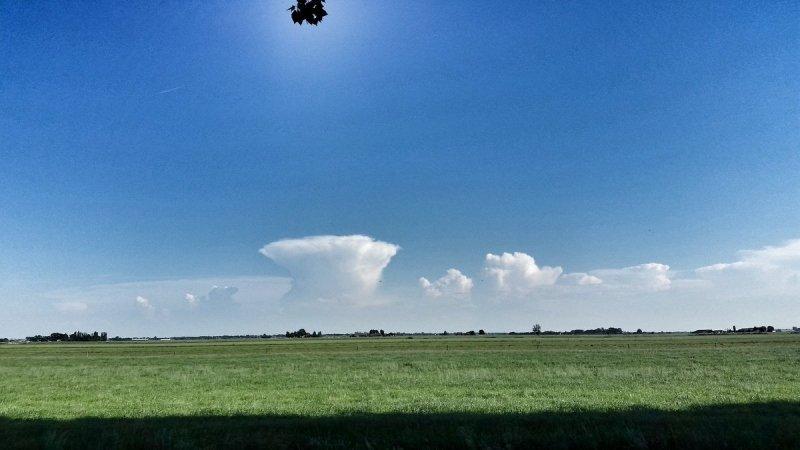 Fraaie aambeeld van een bloemkoolwolk te zien vanuit het midden naar het zuiden van het land. Foto is van Nicole Heij.