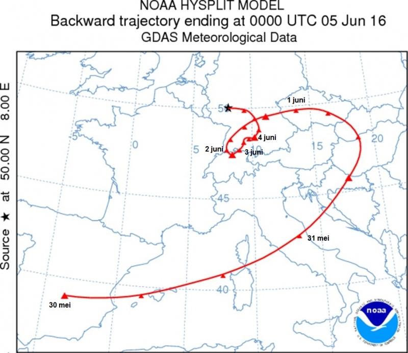 Koers van een luchtdeeltje 5 dagen terug wat op 5 juni boven West-Duitsland aankwam. Bron: NOAA Hysplit.