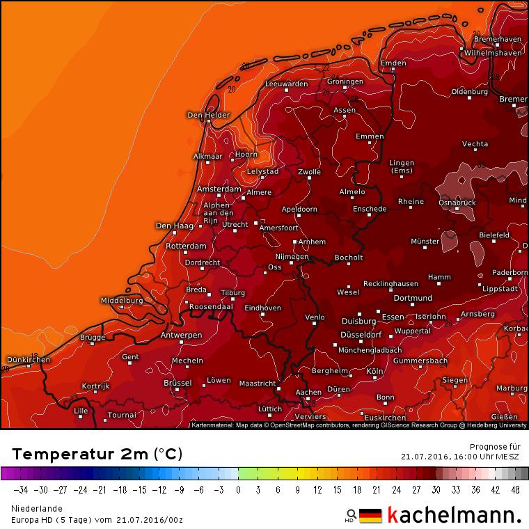 De temperatuur verwachting voor vandaag. Direct aan de kust waarden rond de 20 graden, in de oostelijke helft 29 tot lokaal misschien 30 graden. Bron: Kachelmannwetter.