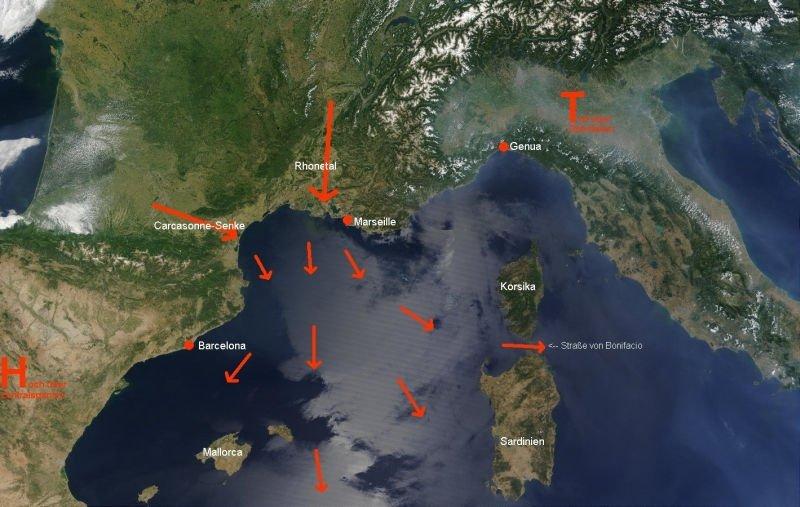 De weersituatie die een Mistral kan aanwakkeren: een lagedrukgebied ten zuiden van de Alpen (Genoa laag) en een hogedruk ten westen van Frankrijk.