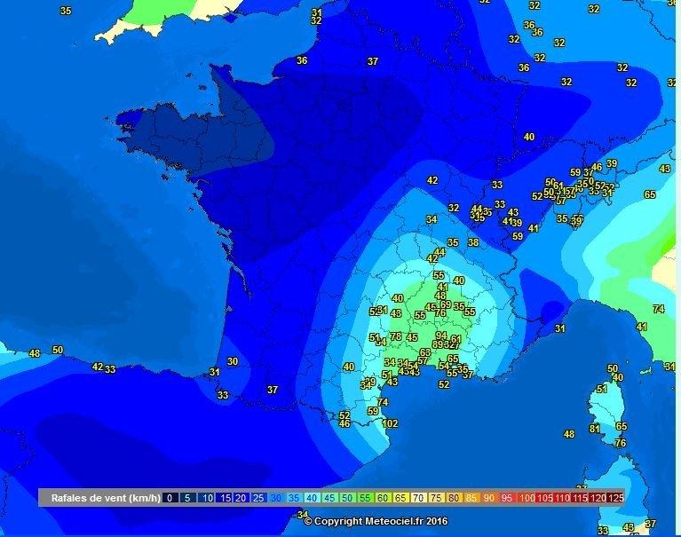 Maximum windsnelheden van vanochtend. In de regio Avignon werden snelheden van 80-94 km/h gemeten. Bron: Meteociel.fr