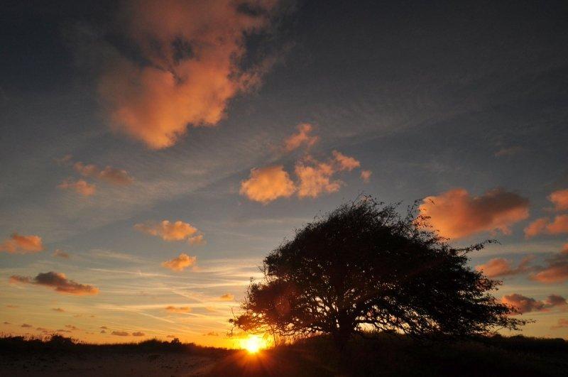 De zon ging gisteren fraai onder. De foto werd gemaakt door Evert-Jan Woudsma.