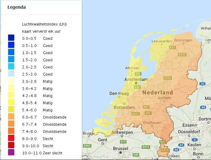 De luchtkwaliteitsindex (LKI) van Nederland om 14:00. Vooral het zuidoosten heeft een onvoldoende luchtkwaliteit, de kustregio's komen er met matig relatief goed vanaf. Bron: Luchtmeetnet.