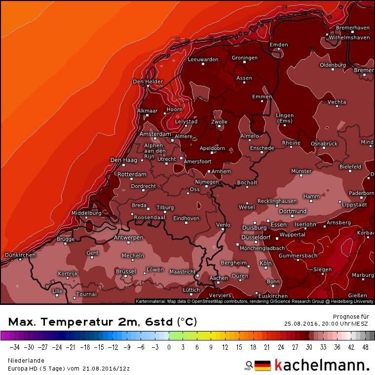 Ook volgens het Duitse HD model wordt het donderdag op veel plaatsen tropisch warm. Bron: Kachelmannwetter.com