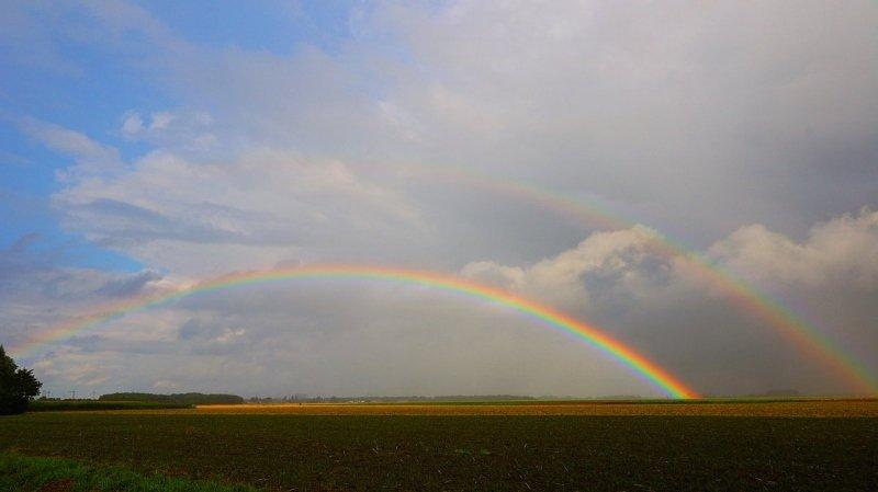 Gisteren aan het eind van de middag verscheen er voor de camera van Jannes Wiersema nog een fraaie regenboog.