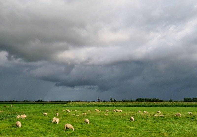 Er trokken flinke buien over het land gisteren en ook vandaag zal de lucht er vaak zo uitzien. Foto is van Ton Wesselius.