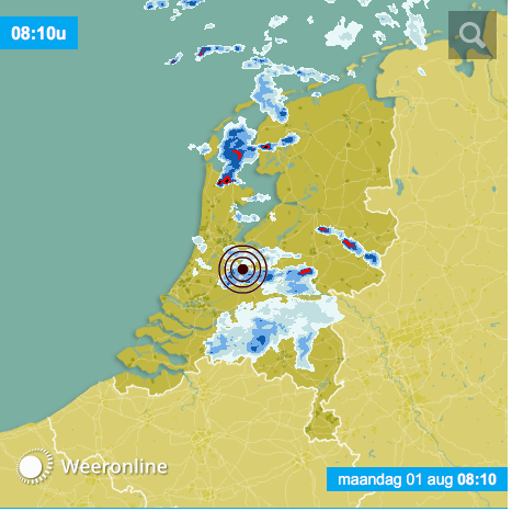 Bron weeronline. Onweersbuien trekken over delen van Nederland