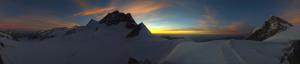 Webcam Jungfrau, top of Europe bij zonsondergang. Bron: jungfrau.ch