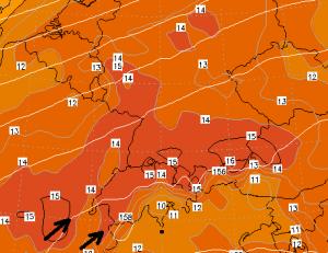 Aangezien de warme lucht vanaf het zuidwesten komt worden de hoogste temperaturen door het föhn-effect bereikt aan de noordoost kant van de Alpen. Bron: wetterzentrale.de