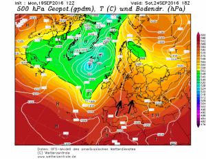 Tegen het weekend draait de wind naar het zuidwesten en wordt er zachtere lucht naar de Alpen gestuurd. Bron: wetterzentrale.de