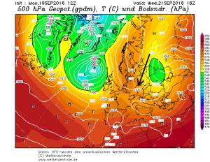 Via een noordoostelijke luchtstroming wordt continale droge lucht naar de Alpen geblazen. Bron: wetterzentrale.de