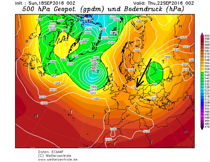 Komende week zorgt een uitgestrekt hogedrukgebied boven Scandinavië voor de aanvoer van droge landelijke lucht?