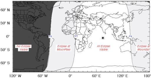 Locaties op de wereld waar de maansverduistering te zien kan zijn. Eigenlijk valt alleen Amerika buiten de boot. Bron: Spaceweather.com.