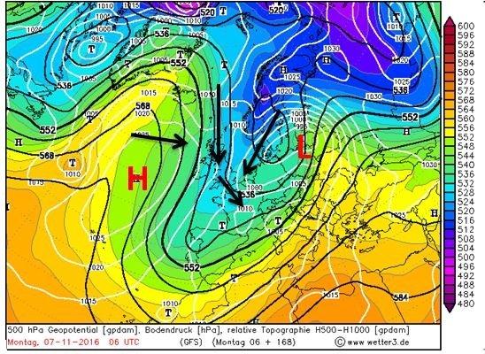 Kaart voor 500 hPa op maandag 6:00. Het lagedrukgebied ligt ten noorden van Oostenrijk boven de Atlantische oceaan ligt een hogedrukgebied. Zwarte pijlen geven stromingsrichting aan. Bron: Wetter3