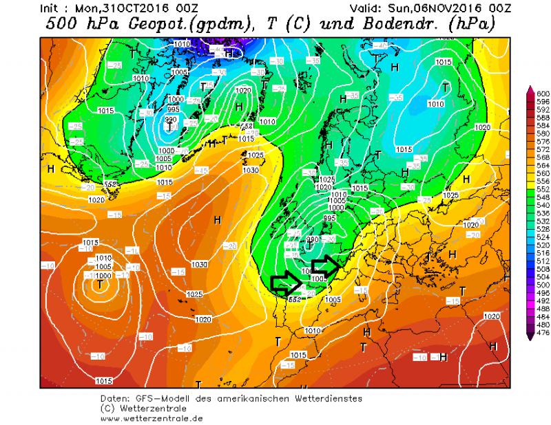 Zaterdag zorgt een depressie boven Frankrijk voor een aanwakkerende westcirculatie met flink wat neerslag in de Alpen. Bron: wetterzentrale.de