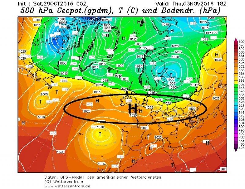 Donderdag en vrijdag herstelt het weer dan opnieuw met een hoge druk rug die uitgestrekt van west naar oost over Centraal-Europa ligt. Het wordt dan weer droog weer. Bron: wetterzentrale.de