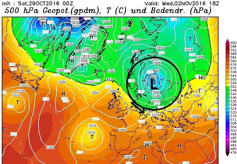 Woensdag zakt een depressie uit naar de Baltische staten en wordt er tijdelijk vochtige en frisse lucht naar de Alpen geblazen. Vooral in Oostenrijk kan dit wat lichte sneeuwval opleveren. Bron: wetterzentrale.de