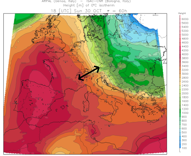 Zondag wordt de temperatuursgradiënt tussen oostelijke en westelijke Alpen nog groter. Bron: meteoliguria.it