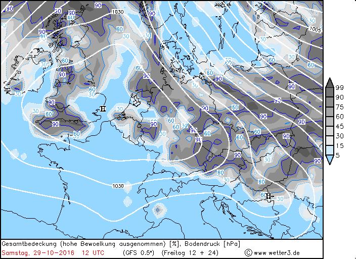 0% bewolking in het grootste deel van de Alpen. Het zonnige weer blijft verder duren. Enkel aan de noordkant in Duitsland kan er wat meer bewolking voorkomen. Bron: wetter3.de