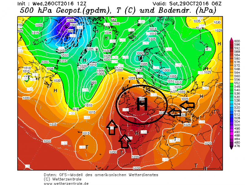 Veel droger kunnen de weerkaarten niet worden voor de volgende dagen. Een stevig hogedrukgebied met waarden tot 1035 hPa op het aardoppervlak vestigt zich boven Centraal-Europa en zorgt voor een droge luchtbel in talrijke landen.Bron: wetterzentrale.de