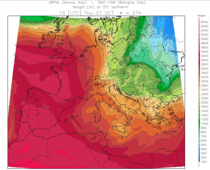 De nulgradengrens schiet morgen de hoogte in vanaf het westen. In de oostelijke Alpen blijft deze grens nog ongeveer 1000 meter lager in vergelijking met het westen. Bron: meteoliguria.it