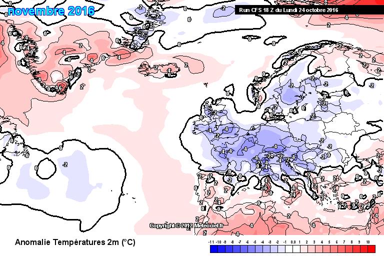 Het Climate Forecast System (CFS) berekent een 1 tot 4° afwijking naar beneden.
