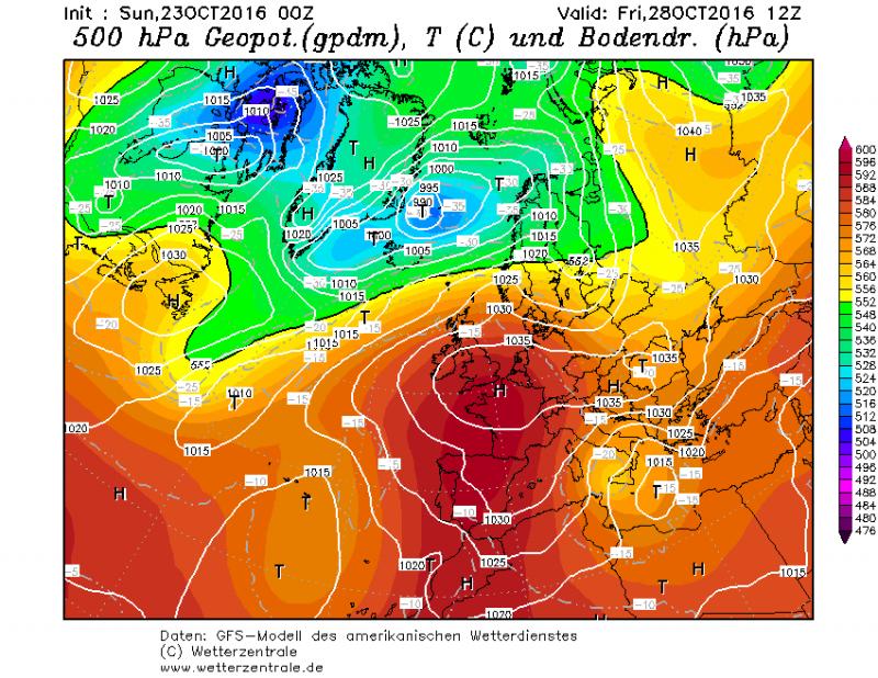 Weerkaart voor vrijdag 28 oktober. Een hoge druk gebied vormt zich boven Centraal-Europa en zorgt voor droog weer in de Alpen. Bemerkt de depressie boven de oostelijke Middellandse zee die daar voor intense neerslag kan gaan zorgen. Bron: wetterzentrale.de