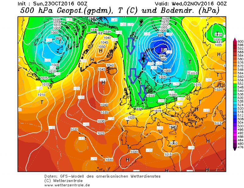 Op de lange termijn lijken verschillende weermodellen voor een noordelijke glijbaan te gaan met koele temperaturen voor Europa en mogelijk ook neerslag. Bron: wetterzentrale.de