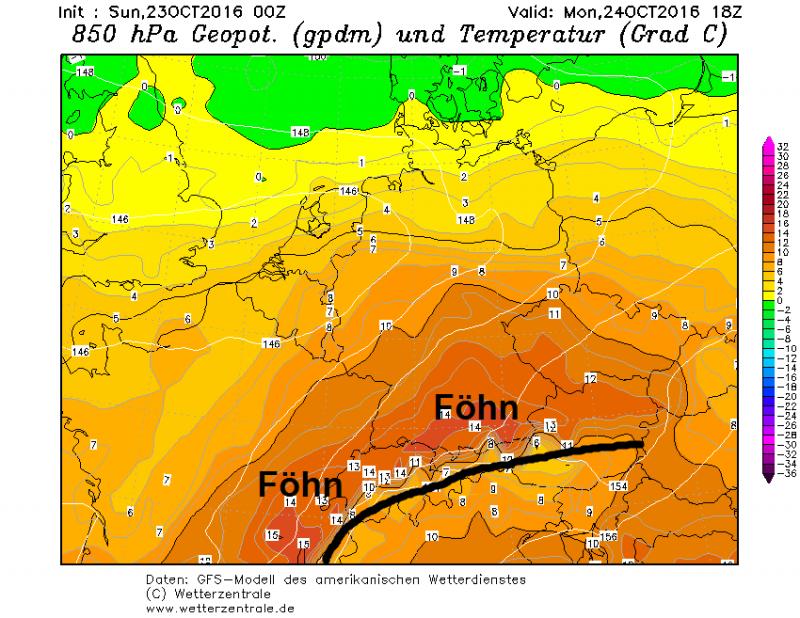 De Föhn resulteert in hoge temperaturen voor westelijke en noordelijke Alpen. Bron: wetterzentrale.de