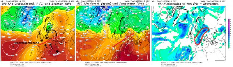 Dinsdag zorgt een convergerende drukconfiguratie voor het ontstaan van een koufront boven Centraal-Europa. Bron: wetterzentrale.de