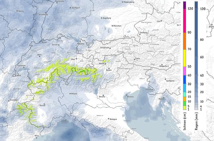 Vandaag valt er neerslag in de westelijke Alpen en vooral de centrale zuidelijke Alpen. Bron: bergfex.com