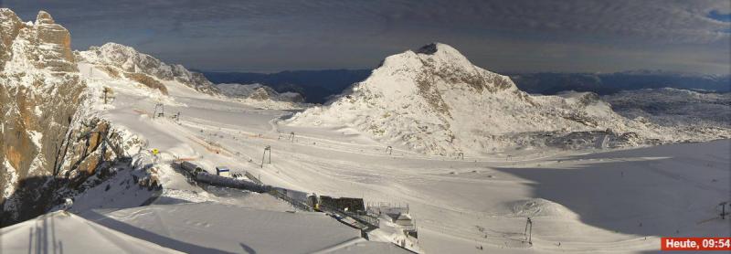 Schitterend weer vandaag op de Dachsteiner gletsjer. Bron: bergfex.com