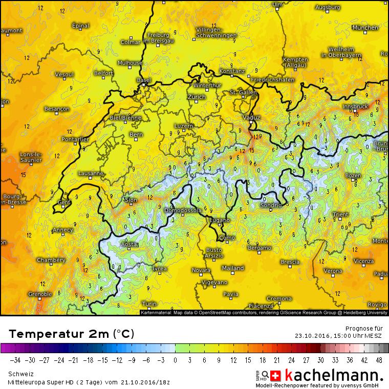 2 meter temperatuur voor zondag 12:00. In de dalen rond Innsbruck, Chur en Sion kunnen de temperaturen oplopen tot wel 17 graden. Bron: Kachelmannwetter