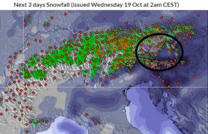 Vandaag en morgen valt de meeste neerslag duidelijk in de oostelijke en zuidoostelijke Alpen. Bron: snowforecast.com