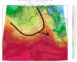 Maandag begint de nul graden grens vanaf het noordwesten te dalen. Aan de zuidkant blijft het nog eventjes zachter. Bron: meteoliguria.it