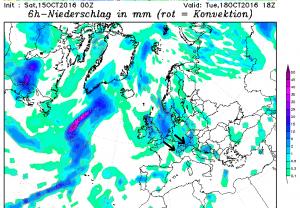 Dinsdag zorgt de vochtige noordwestelijke lucht voor neerslag aan de noordzijde van de Alpen. Bron: wetterzentrale.de