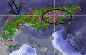 Vanaf woensdag wordt er intense neerslag verwacht, voornamelijk in het oosten. Het zwaartepunt lijkt momenteel terecht te komen in de massieven rond de Grossglockner.