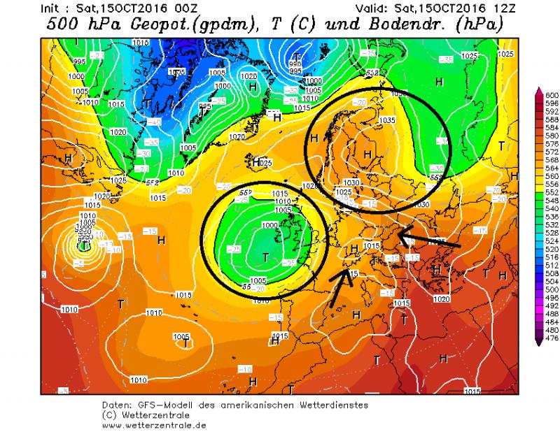 De drukconfiguratie is zo geordend dat de Alpen een rustig weekend beleven met vrij milde lucht. Bron: wetterzentrale.de