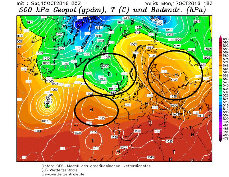 Maandag bevinden de kernen van drukgebieden zich ver buiten de Alpen. Het blijft hierdoor de hele dag rustig en droog weer. Bron: wetterzentrale.de