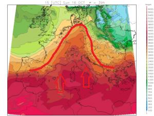 Een hogedruk rug zorgt morgen voor een hoge nulgradengrens rond 3400 meter. Ten westen en oosten van de Alpen bevindt zich frissere lucht. Bron: meteoliguria.it