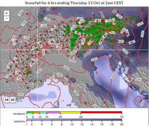 Woensdag is het dan mogelijk weer de beurt aan Oostenrijk met een verse laag sneeuw boven 1400 meter. Bron: snowforecast.com